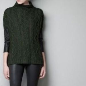 Dark green cable knit sweater by ZARA